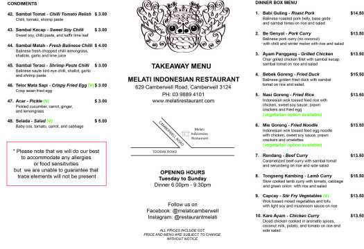 MELATI TAKEAWAY MENU AUG 2019 COVER A4
